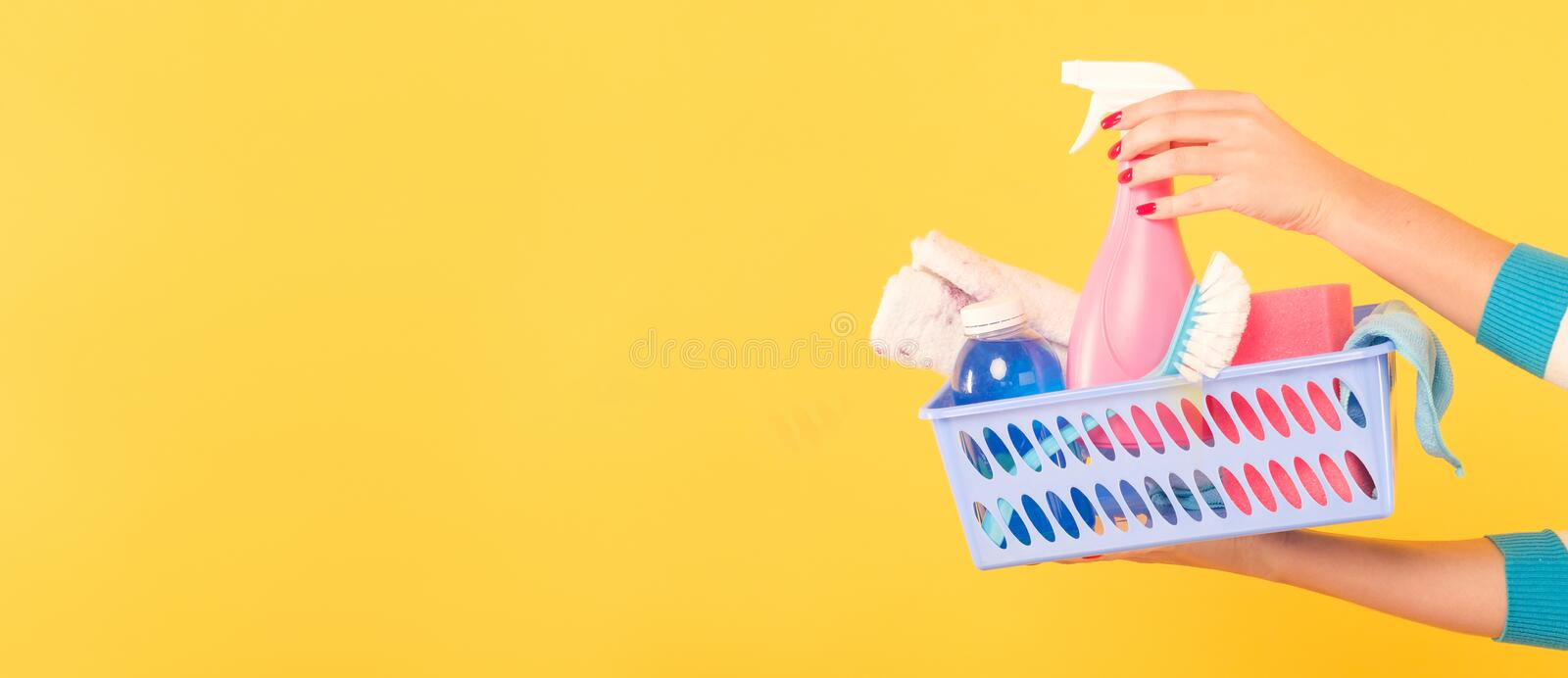 Diy Home Cleaning Woman Supplies Copy Space Stock Image ...