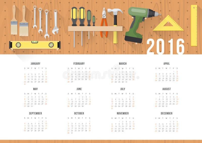 Diy-Kalender 2016 vektor abbildung