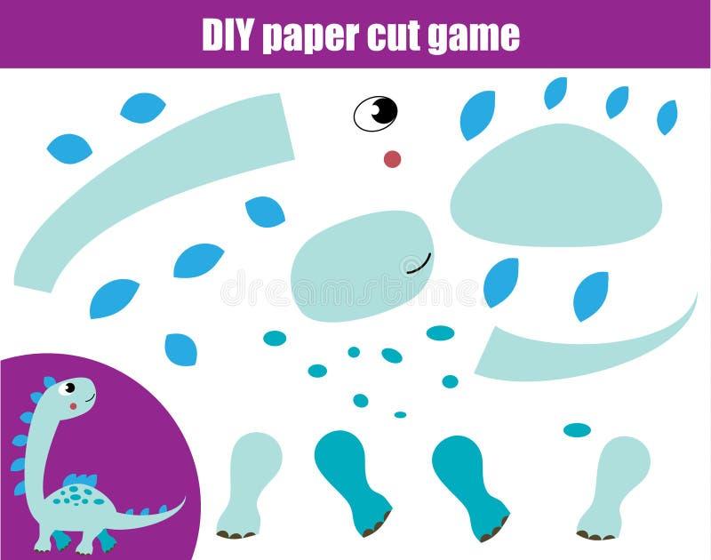 DIY-kinderen onderwijs creatief spel Document scherpe activiteit Maak Dino met lijm en schaar royalty-vrije illustratie