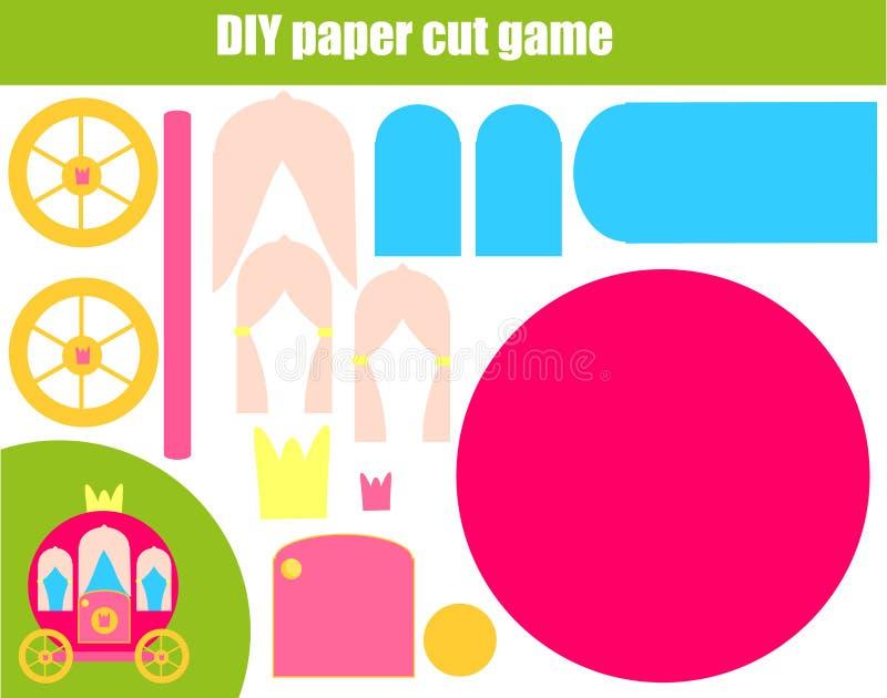DIY-kinderen onderwijs creatief spel Document scherpe activiteit Maak een prinsesvervoer met lijm en schaar vector illustratie
