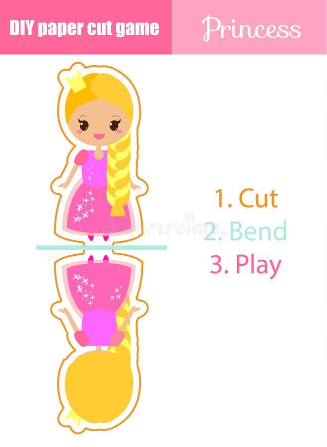 DIY-kinderen onderwijs creatief spel Maak een cijfer van de prinsespop met schaar en lijm royalty-vrije illustratie