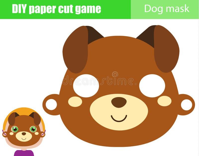 DIY-kinderen onderwijs creatief spel Maak een dierlijk partijmasker met schaar Het document van het hondgezicht masker voor jonge stock illustratie