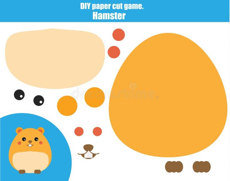 DIY-kinderen onderwijs creatief spel Maak een hamster met schaar en lijm Paprecutactiviteit Creatief voor het drukken geschikt le royalty-vrije illustratie
