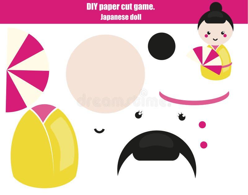 DIY-kinderen onderwijs creatief spel Maak een Japans poppenmeisje met schaar en lijm Paprecutactiviteit Creatief voor het drukken stock illustratie