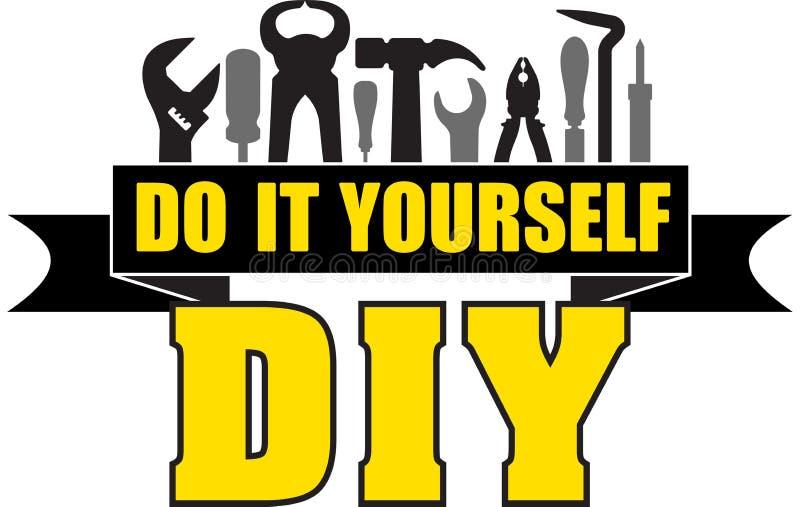 DIY le font vous-même bannière avec des silhouettes des outils de travailleurs : jambon illustration de vecteur