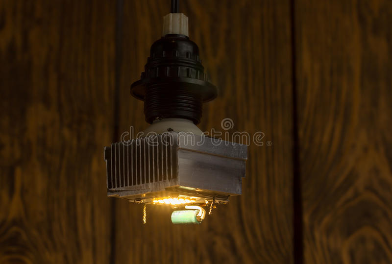 Download Diy Led Lamp On Wooden Background Stock Photo   Image Of Heat,  Bright: