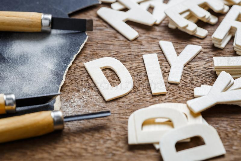 DIY Letters Woodwork stock photos
