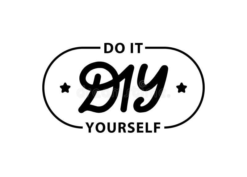 DIY lo hacen usted mismo Poner letras al sello del c?rculo del logotipo de la abreviatura Sello de goma del sello en el ejemplo b libre illustration