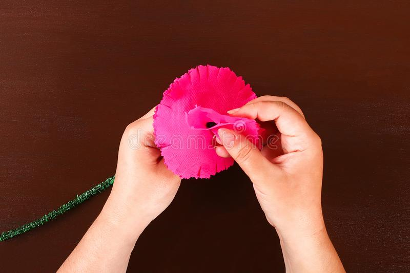 Diy May 9th carnations from crepe paper, wire and napkins. Gift idea, decor 9 May. 9 Diy May 9th carnations from crepe paper, wire and napkins. Gift idea, decor stock photos