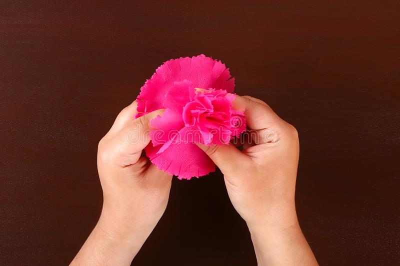 Diy May 9th carnations from crepe paper, wire and napkins. Gift idea, decor 9 May. 10 Diy May 9th carnations from crepe paper, wire and napkins. Gift idea, decor stock photo