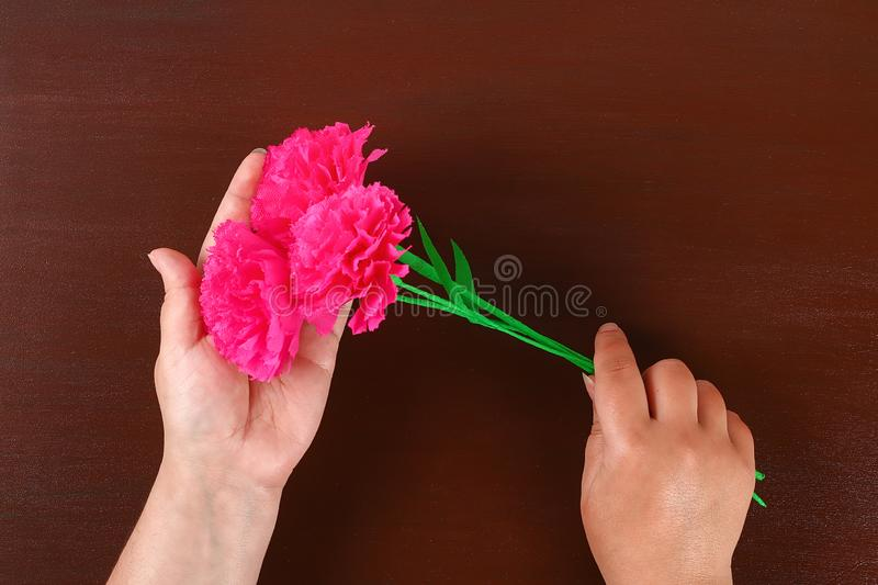 Diy May 9th carnations from crepe paper, wire and napkins. Gift idea, decor 9 May. 17 Diy May 9th carnations from crepe paper, wire and napkins. Gift idea, decor royalty free stock images