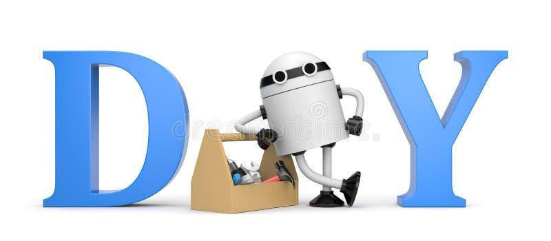 DIY-metafor med roboten stock illustrationer