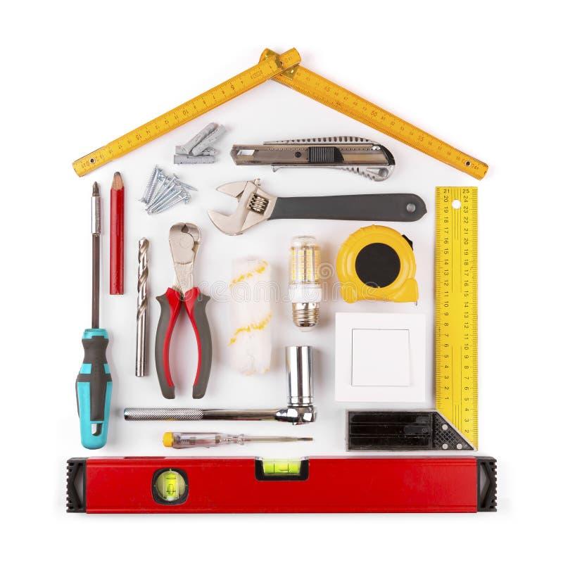 DIY - outils à la maison de rénovation et d'amélioration sur le blanc photos stock