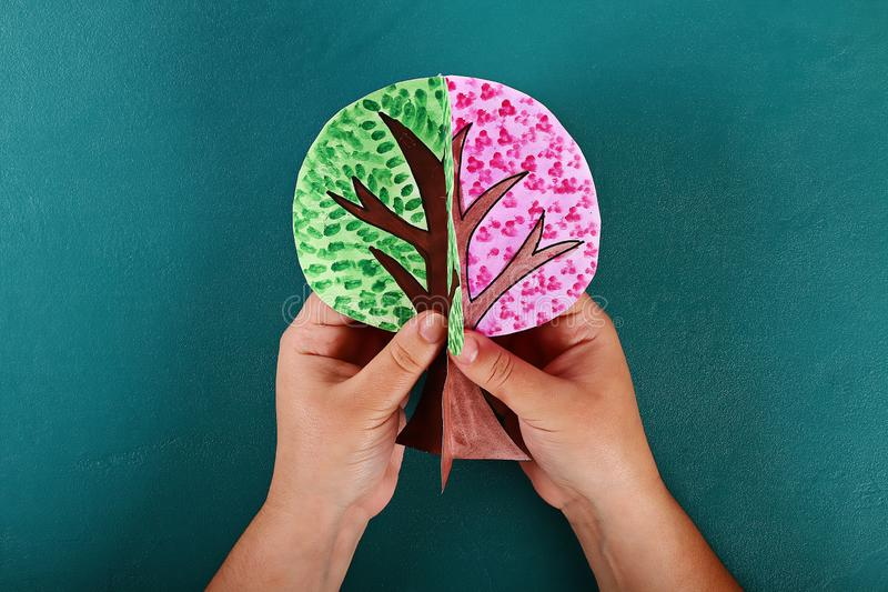 Diy paper tree four seasons summer, autumn, winter, spring. Tree 4 season. Childrens creativity. Gift idea, decor. Step by step. Top view. Process kid children stock image
