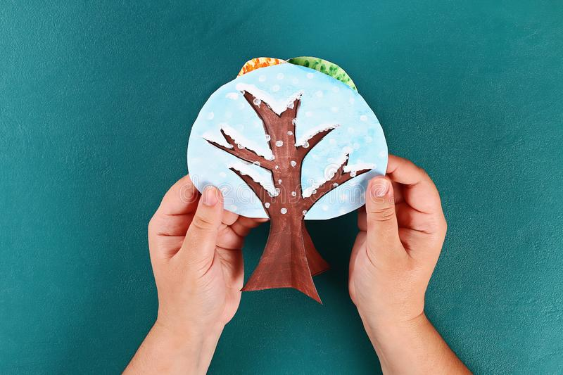 Diy paper tree four seasons summer, autumn, winter, spring. Tree 4 season. Childrens creativity. Gift idea, decor. Step by step. Top view. Process kid children royalty free stock photography