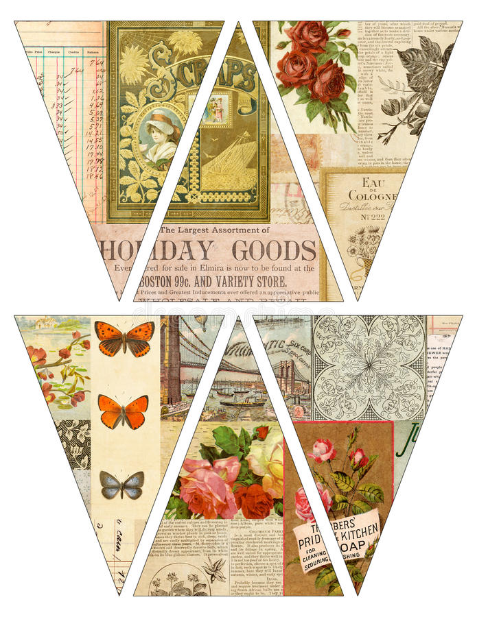 DIY Printable Vintage style banner bunting garland flags with collaged old magazines. Print and make it yourself vector illustration