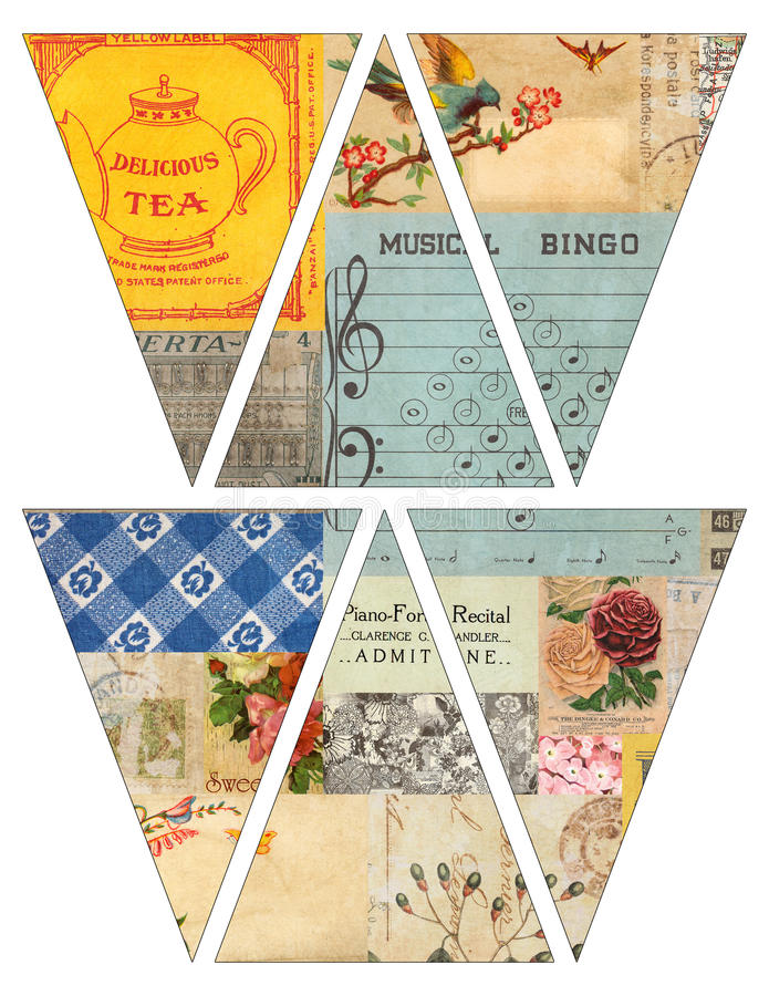 DIY Printable Vintage style banner bunting garland flags with collaged old magazines. Print and make it yourself stock illustration