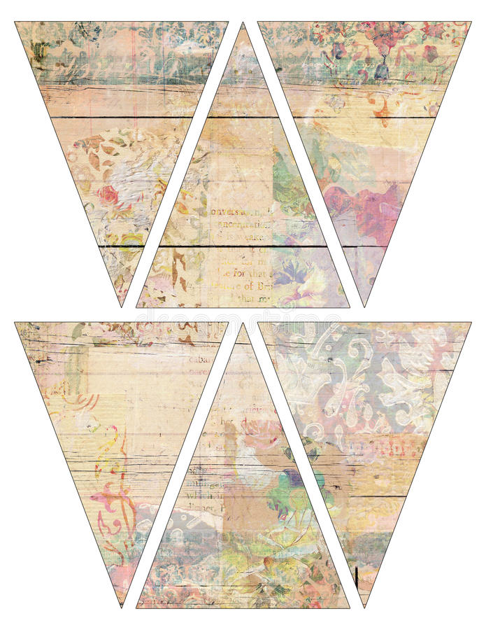 DIY Printable Vintage style banner bunting garland flags with collaged vintage wallpaper and wood background stock illustration