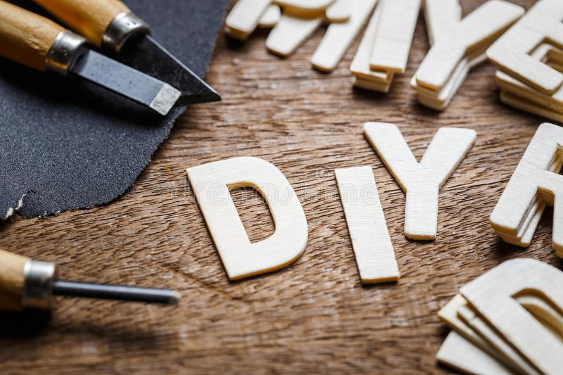 DIY rotula a carpintaria imagens de stock royalty free