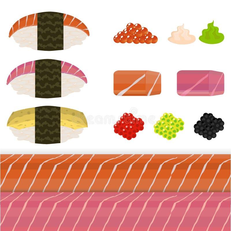 Diy set of nigiri sushi stock illustration