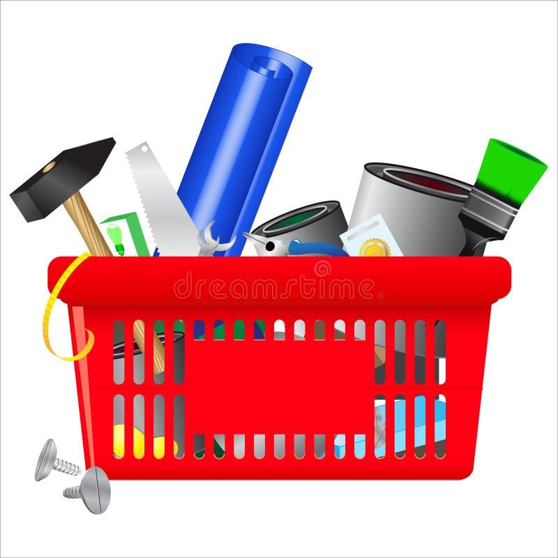 DIY shopping cart. Vector icon of DIY shopping cart royalty free illustration