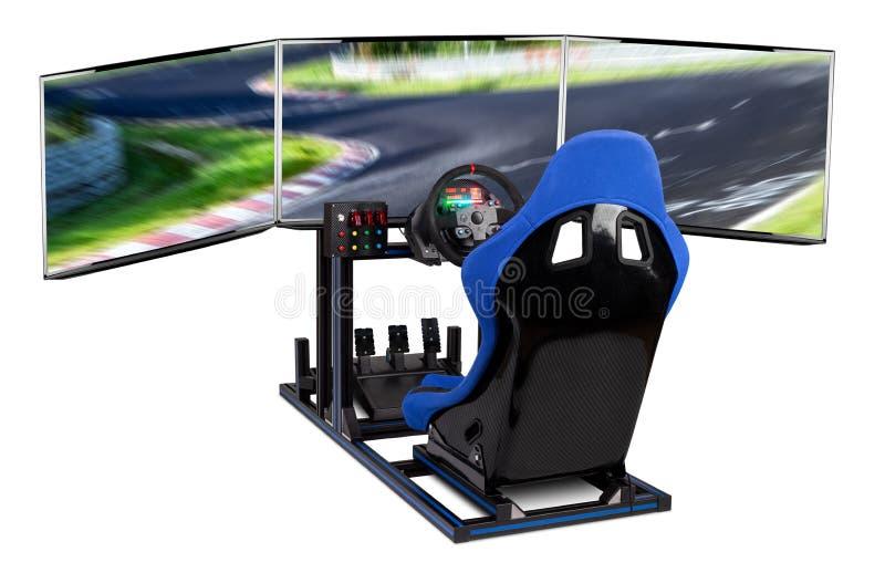 DIY simracing aluminum simulator rig for video game racing. Blue motorsport car bucket seat steering wheel pedals and tripe screen royalty free stock photography