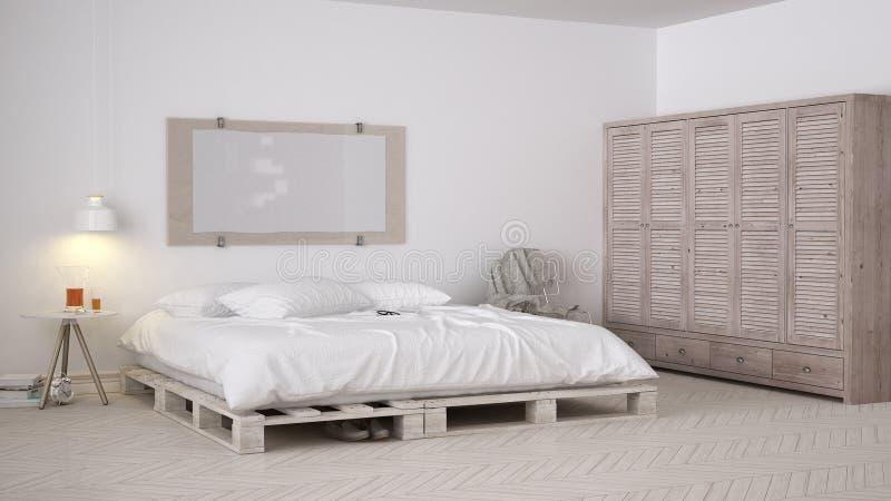 DIY-slaapkamer, Skandinavisch wit eco elegant ontwerp royalty-vrije stock afbeeldingen