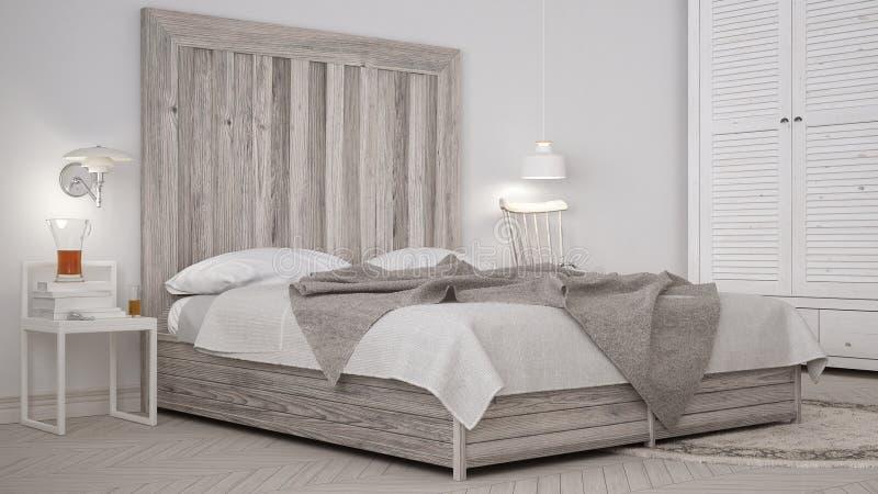DIY-sovrum, säng med trähuvudgaveln, scandinavian vit eco c royaltyfri fotografi