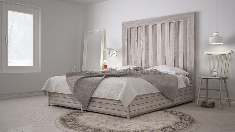 DIY-sovrum, säng med trähuvudgaveln, scandinavian vit eco c royaltyfri bild