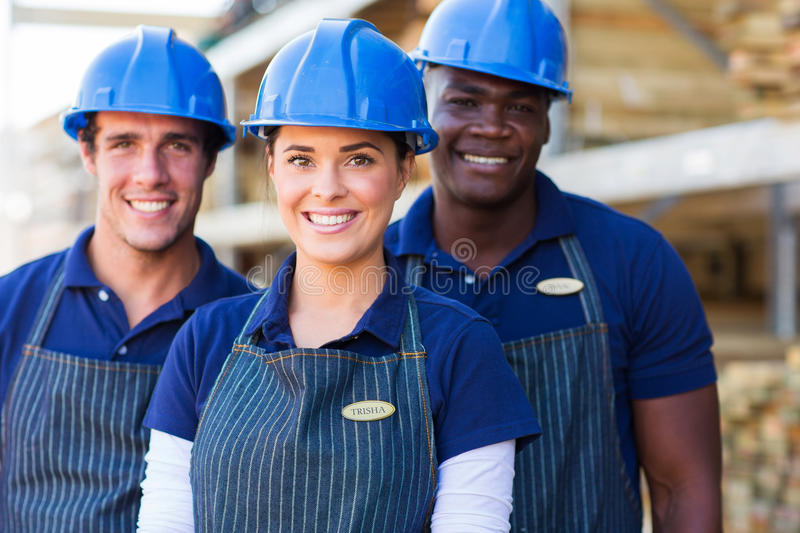 DIY store workers. Group of DIY store workers close up stock images