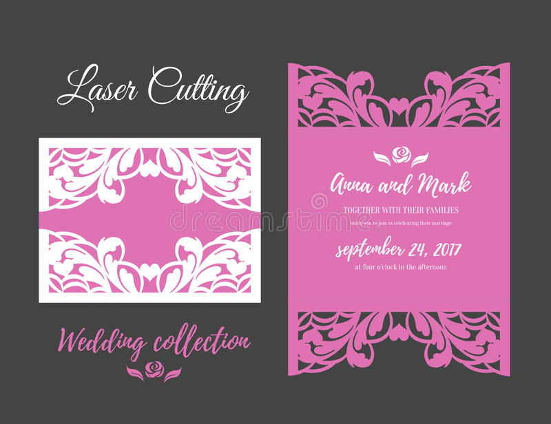 DIY Template for laser cutting. Open card. The front and rear side. vector can be used as an envelope. Wedding die cut vector illustration