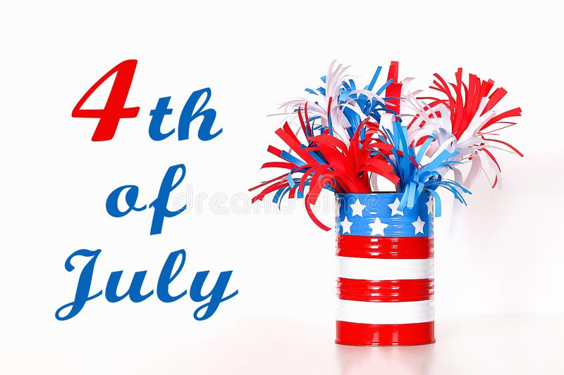 Diy 4th of July paper salute color American flag, red, blue, white. idea, decor USA Independence Day. Diy 4th of July paper salute color American flag, red, blue stock photos