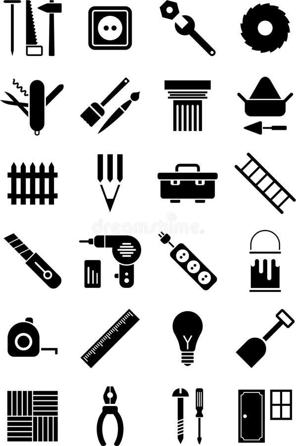 DIY utiliza ferramentas ícones ilustração do vetor