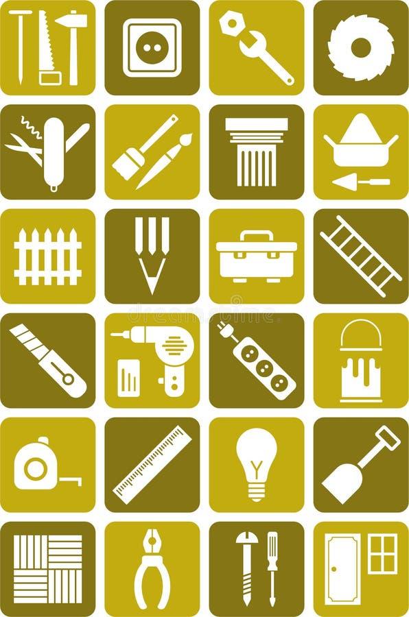 DIY utiliza ferramentas ícones ilustração royalty free