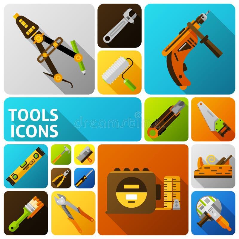 DIY utiliza ferramentas ícones ilustração stock