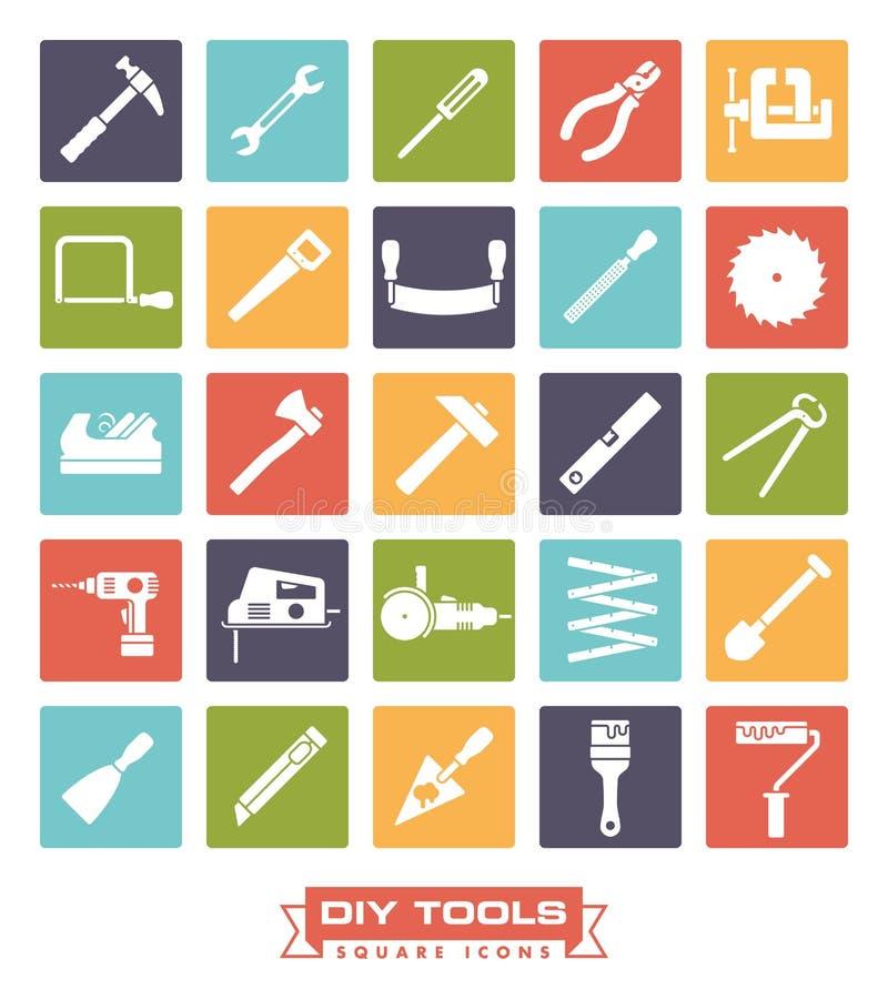 DIY utiliza ferramentas a coleção quadrada do ícone da cor ilustração royalty free