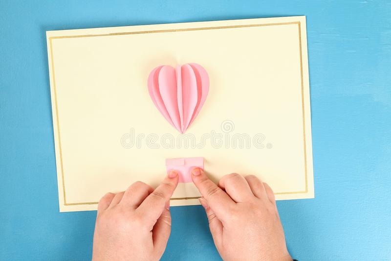 DIY Valentines Day greeting card on 14 february royalty free stock image