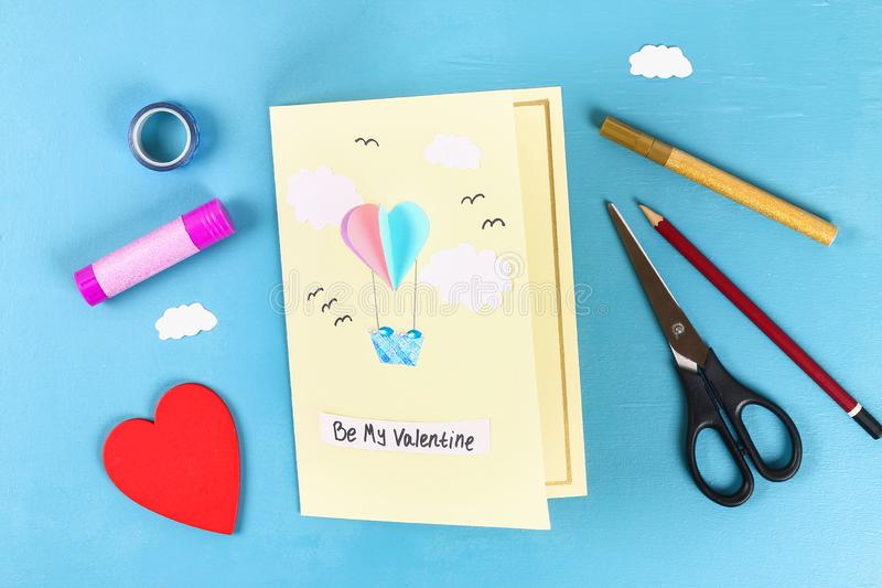 DIY Valentines Day greeting card on 14 february stock photo