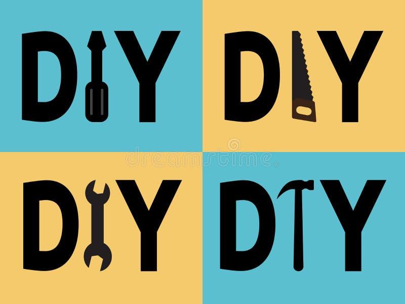 DIY-Wörter und -werkzeuge lizenzfreie abbildung