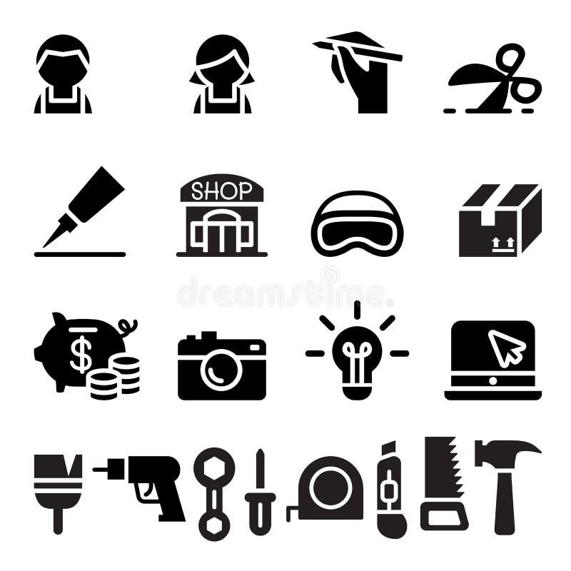 DIY, warsztat, rzemieślnik, rzemiosło ikony set royalty ilustracja