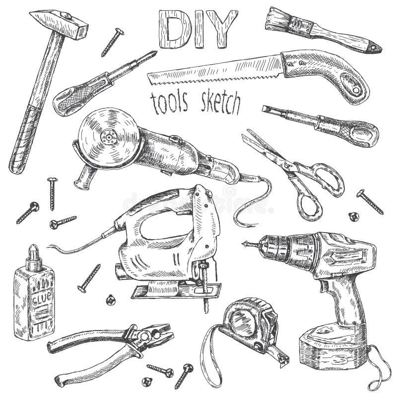 DIY-Werkzeugsatz lizenzfreie abbildung