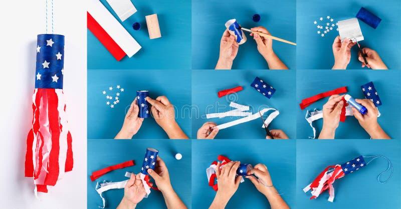 Diy windsocks 4th Lipa toaletowego rękawa papierowych kolorów krepdeszynowa flaga amerykańska, czerwień, błękit, biały kola? obrazy royalty free