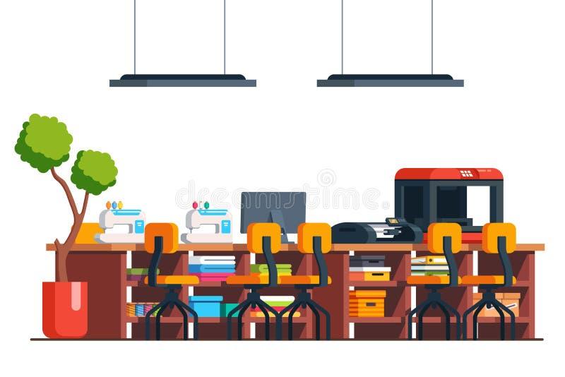 Diy workshop studio room, tailor sewing machine stock illustration