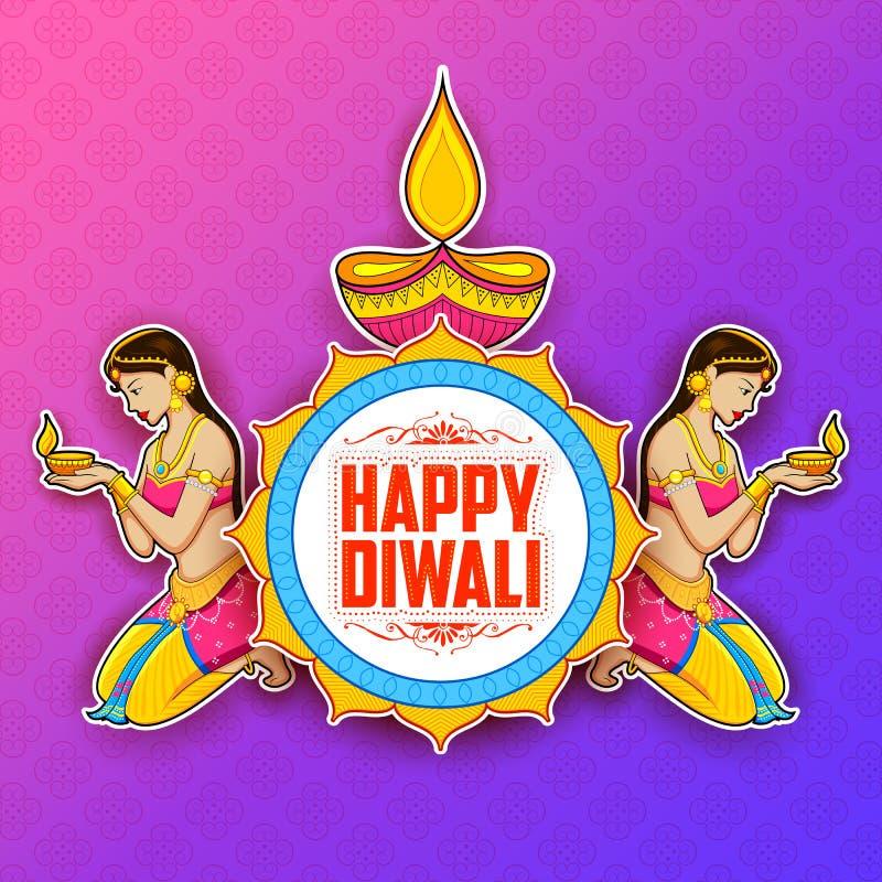 Diya γυναικείου καψίματος στο ευτυχές υπόβαθρο διακοπών Diwal για το ελαφρύ φεστιβάλ της Ινδίας απεικόνιση αποθεμάτων