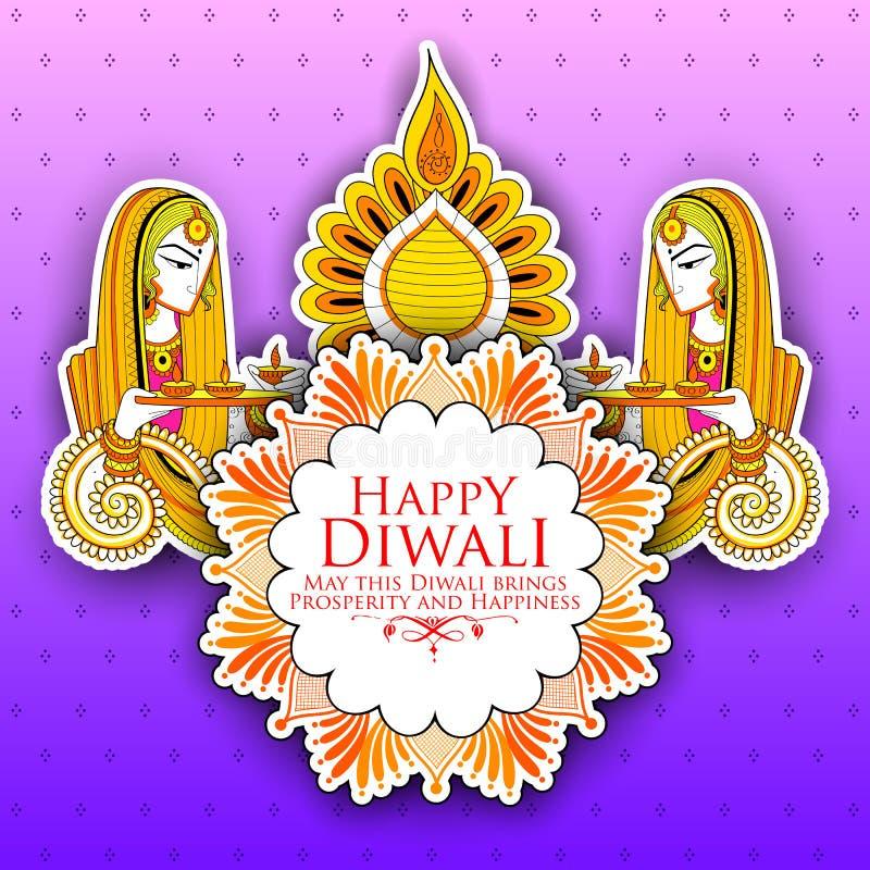 Diya γυναικείου καψίματος στο ευτυχές υπόβαθρο διακοπών Diwal για το ελαφρύ φεστιβάλ της Ινδίας ελεύθερη απεικόνιση δικαιώματος