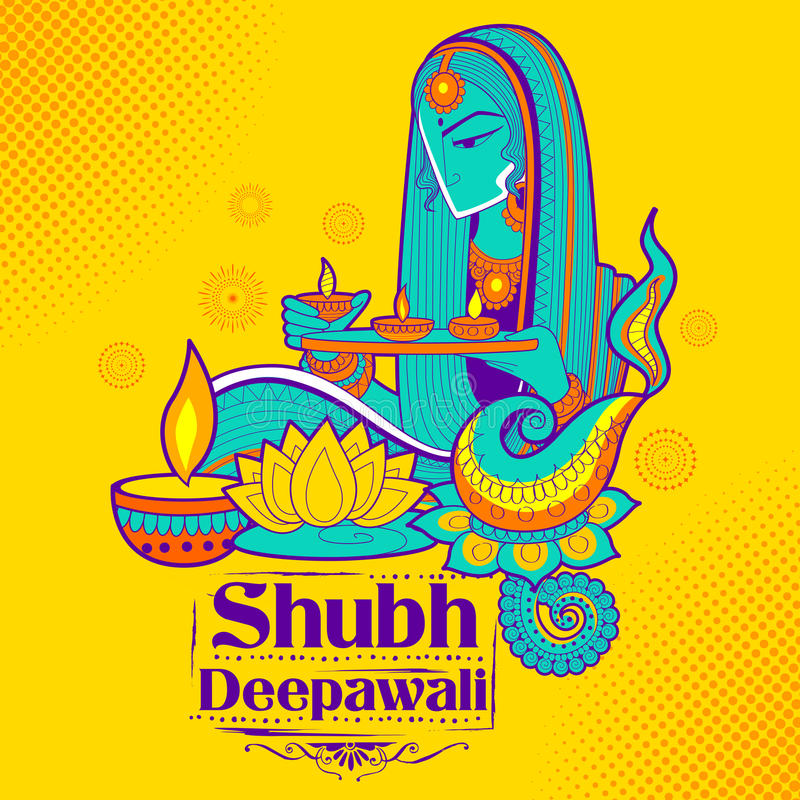 Diya γυναικείου καψίματος στο ευτυχές υπόβαθρο διακοπών Diwali doodle για το ελαφρύ φεστιβάλ της Ινδίας ελεύθερη απεικόνιση δικαιώματος
