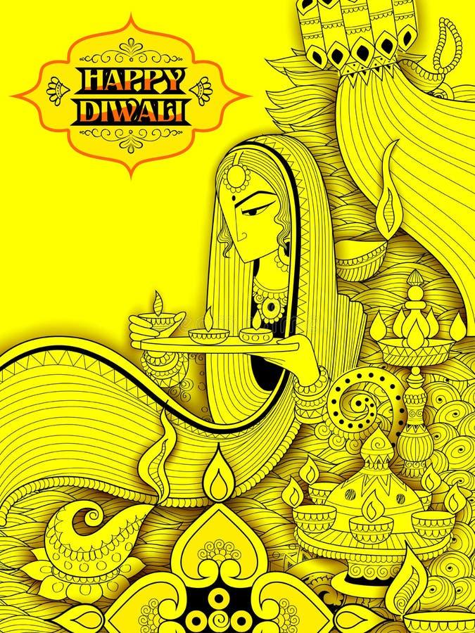 Diya γυναικείου καψίματος στο ευτυχές υπόβαθρο διακοπών Diwali doodle για το ελαφρύ φεστιβάλ της Ινδίας απεικόνιση αποθεμάτων