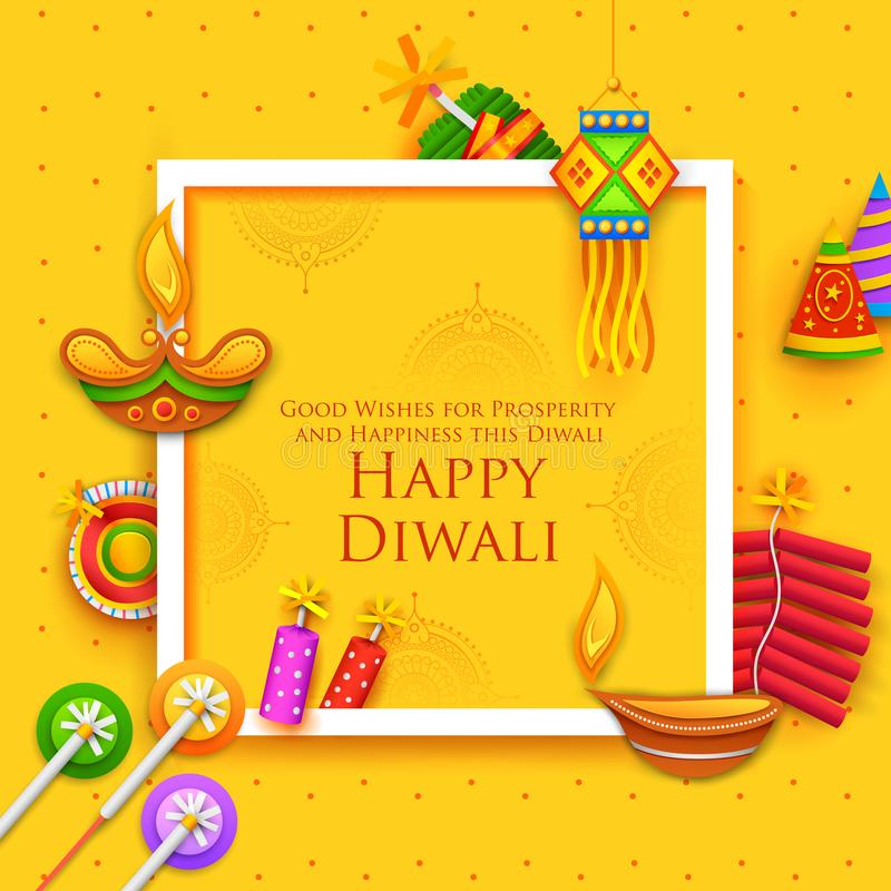 Diya και firecracker καψίματος στο ευτυχές υπόβαθρο διακοπών Diwali για το ελαφρύ φεστιβάλ της Ινδίας απεικόνιση αποθεμάτων