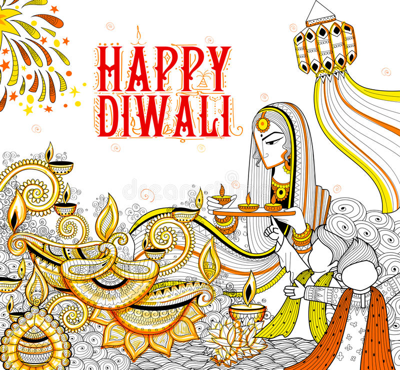 Diya καψίματος στο ευτυχές υπόβαθρο διακοπών Diwali doodle για το ελαφρύ φεστιβάλ της Ινδίας ελεύθερη απεικόνιση δικαιώματος
