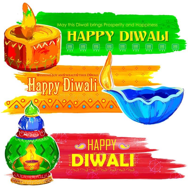 Diya акварели счастливого знамени Diwali coloful бесплатная иллюстрация